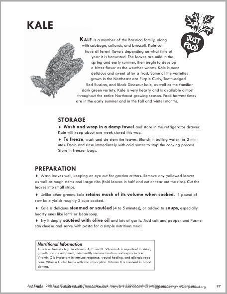 Kale Tipsheet from Just Food - Check out this handout to learn tips about storing and preparing kale, including some delicious recipes!
