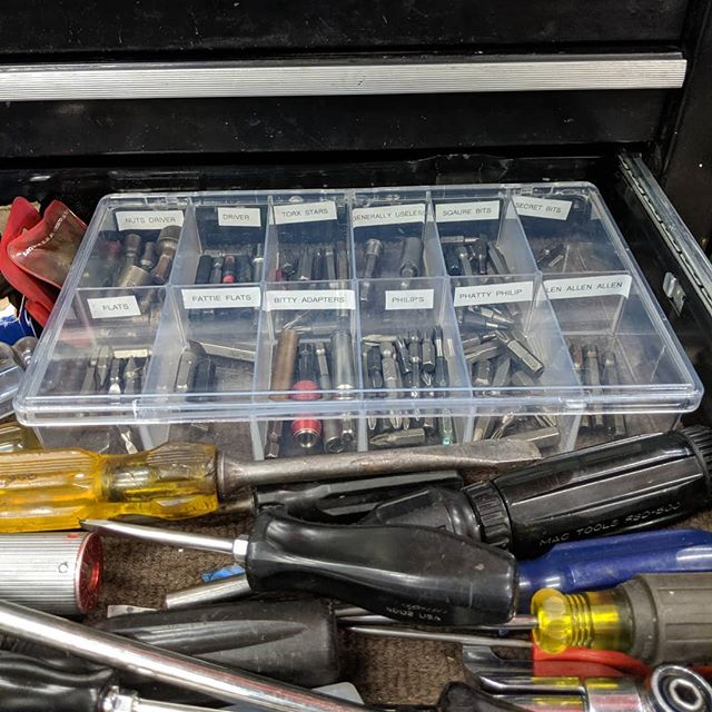@blu_schwarz_mullet took it upon himself to organize the loose bits in the screwdriver drawer. 100% accurate labeling. Excellent work.  #jobshop #5s #organization