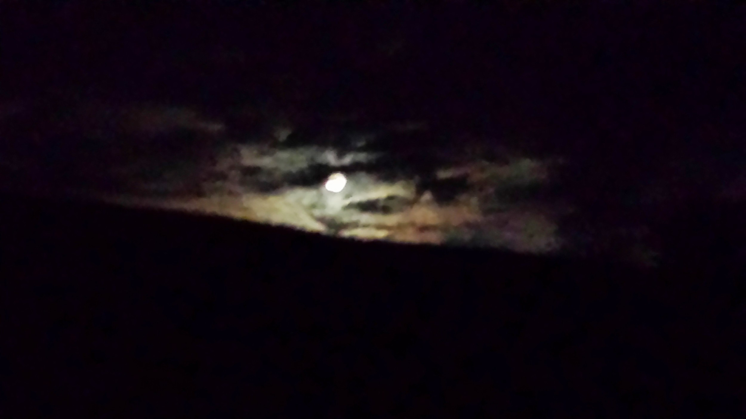 The moon finally peeked through the clouds and illuminated our evening.