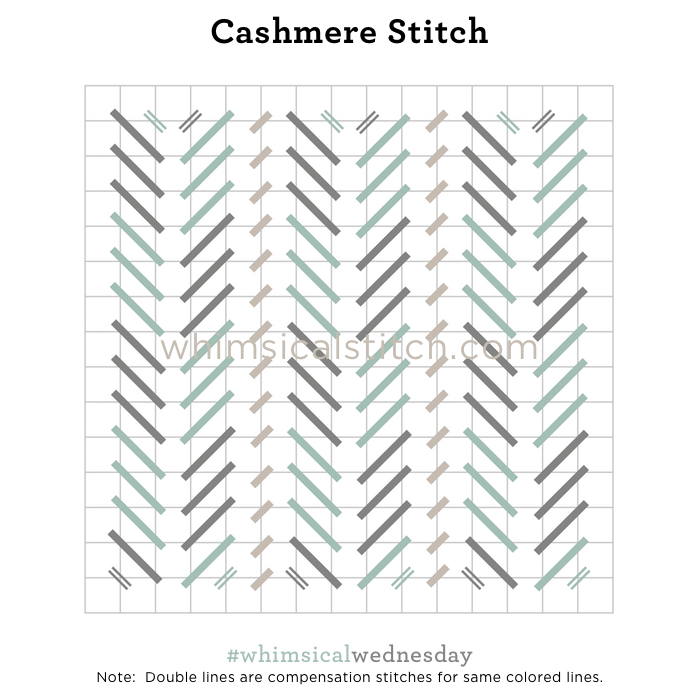 Click on image to see on whimsicalstitch.com's Pinterest page. Visit pinterest.com/whimsicalstitch/whimsicalwednesday for a library of all #whimsicalwednesday and #smallspacesunday stitch diagrams.