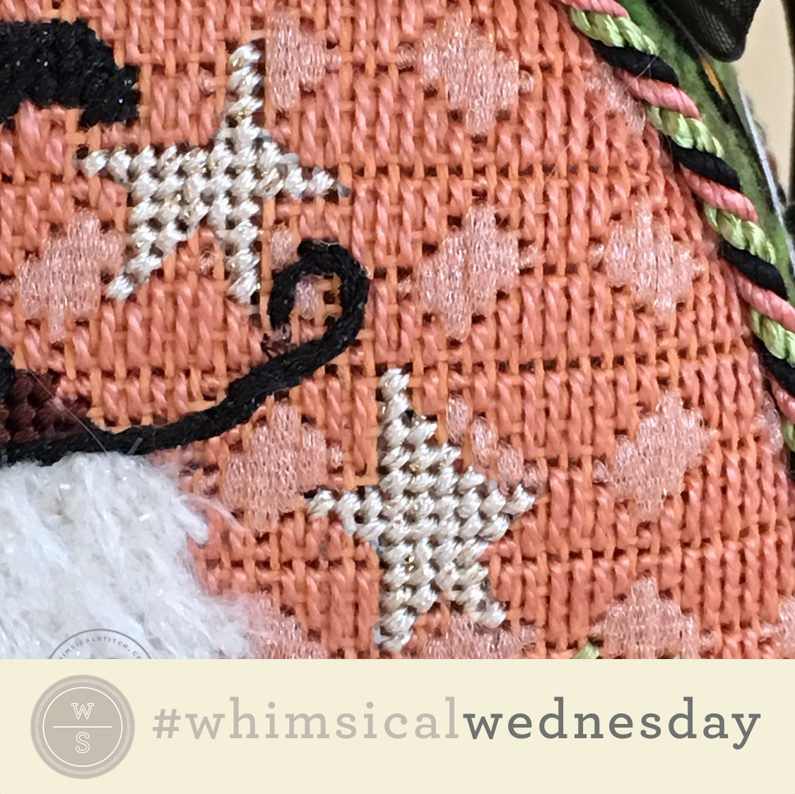 Click on image to see on whimsicalstitch.com's Instagram account. Visit instagram.com/whimsicalstitch to see a library of stitched samples for select #whimsicalwednesday and #smallspacesunday stitch diagrams.