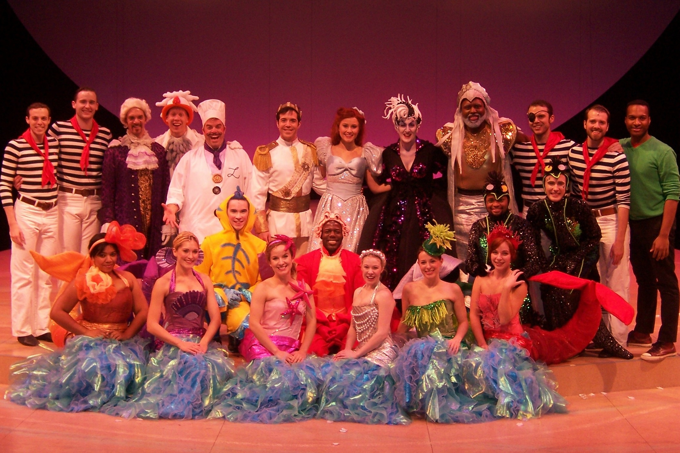 The Cast of The Little Mermaid at Olney Theatre Center. Directed by Mark Waldrop, Costumes by Pei Lee, Scenic Design by James Fouchard.