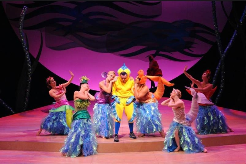 """She's in Love!"" The Little Mermaid at Olney Theatre Center. Directed by Mark Waldrop, Costumes by Pei Lee, Scenic Design by James Fouchard."