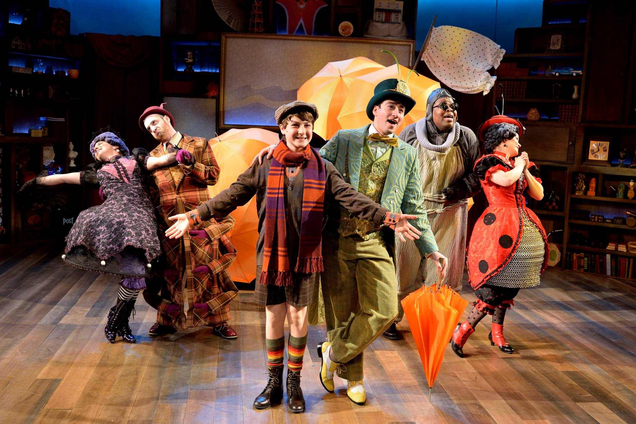 Floatin' Along in James and the Giant Peach at Adventure Theatre MTC. Directed by Michael Baron, Costumes by Jeffrey Meek, Scenic Design by Katie Sullivan