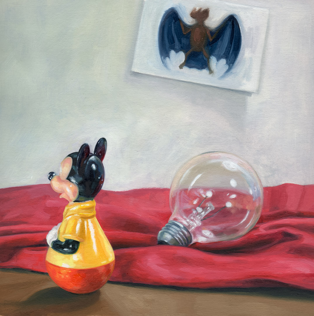 Mouse And Bat  oil on milk carton paper  8 x 8  2015