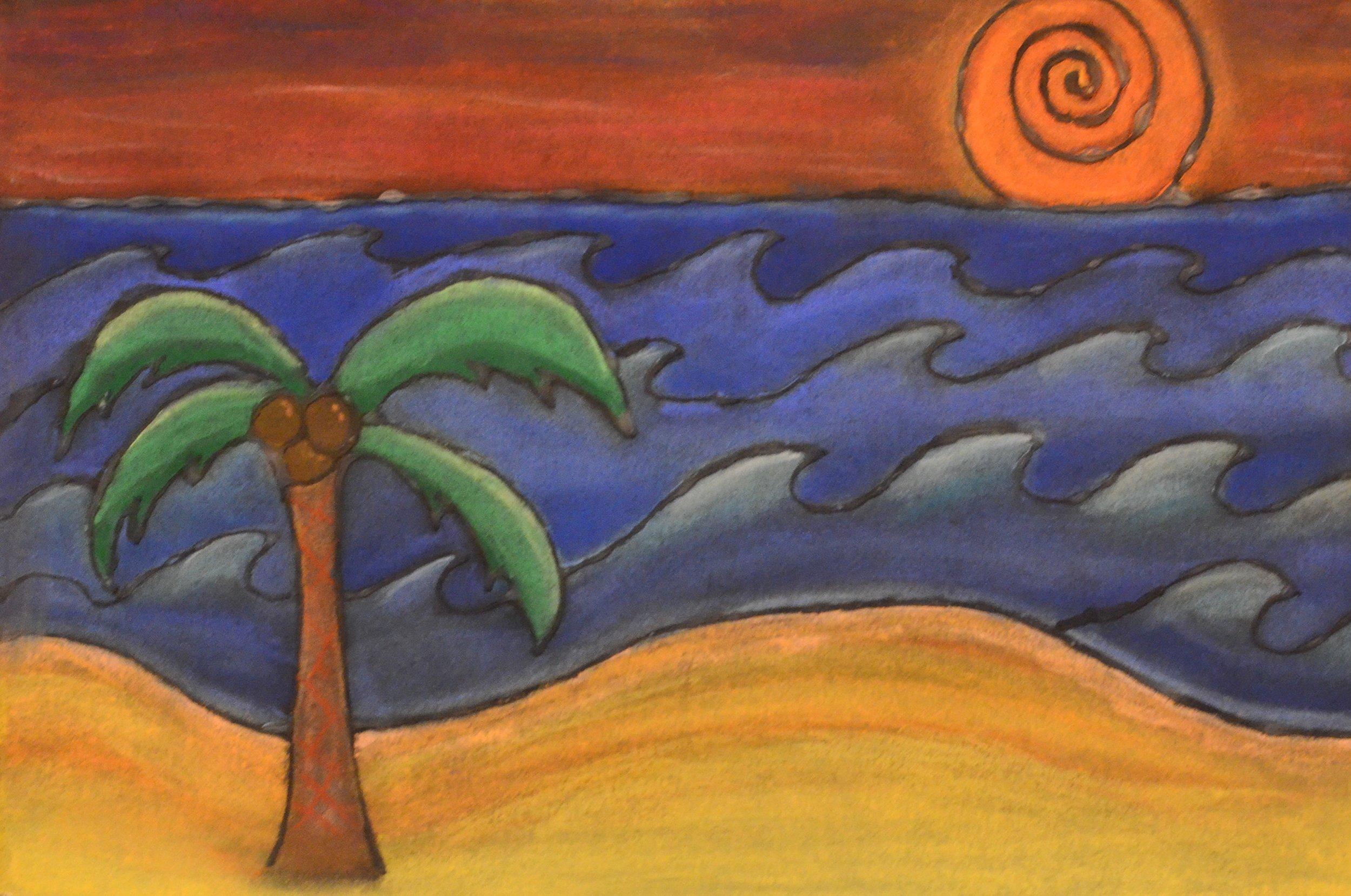 Student artwork on display.
