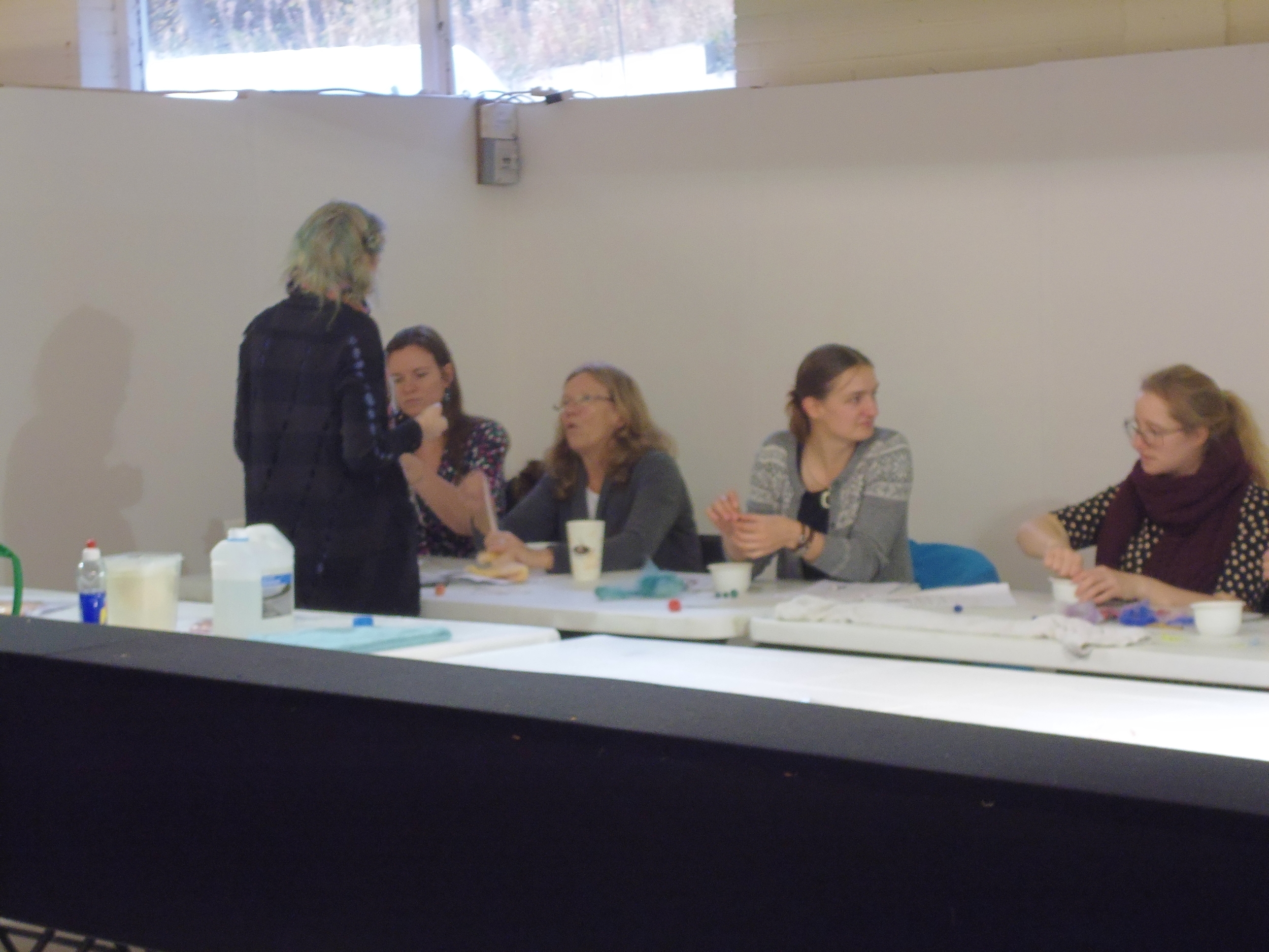Teaching a felting workshop at The Knitting and Stitching show 2013