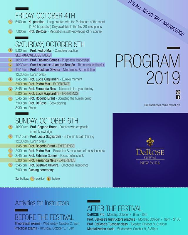 DeROSE Festival New York! We've created an amazing event for all of our members. It's all happening the first weekend of October. #DeROSEMethod