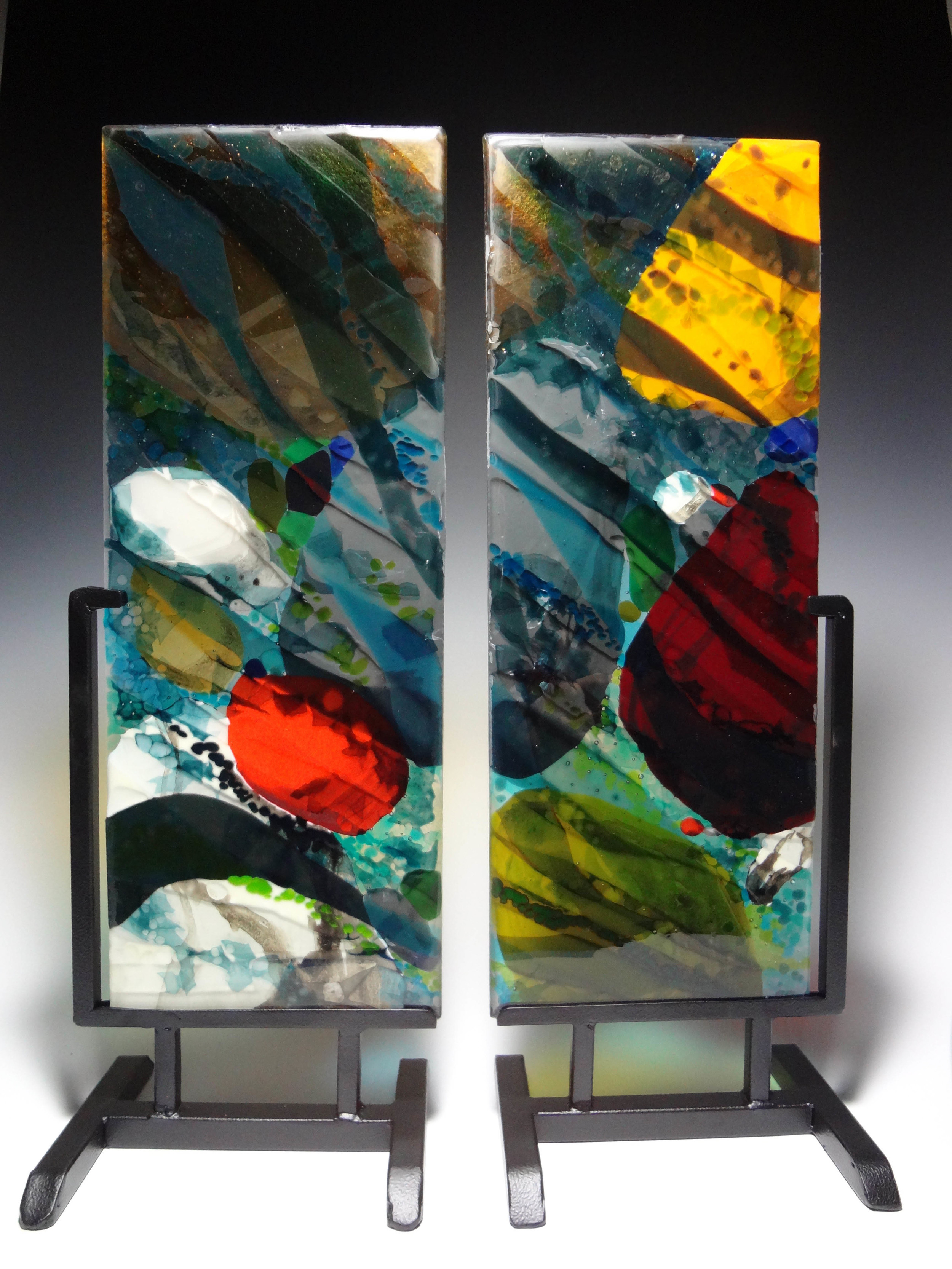 "Rocks in Streambed<a href=>→</a><strong>20"" x 7"" each panel  $1,800 (includes stands)</strong>"
