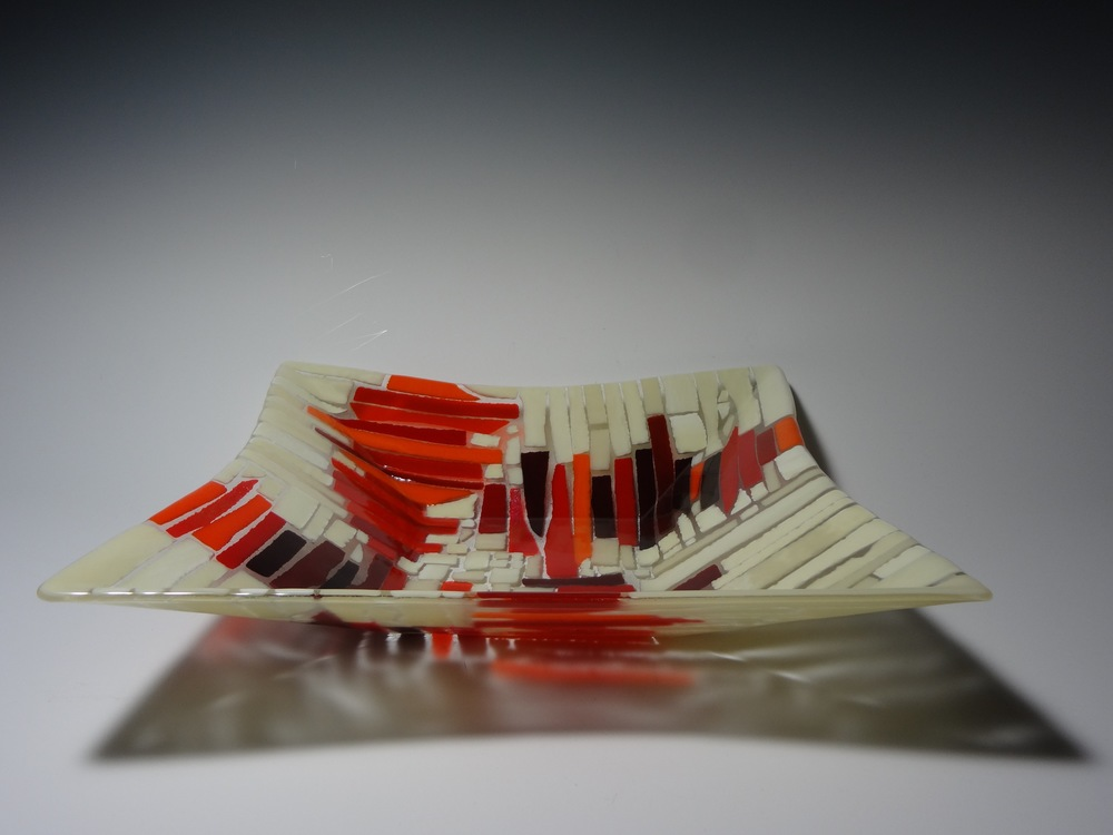 """Pathways in Orange<a href=>→</a><strong>17"""" x 17"""" x 3"""" Square Bowl $540</strong>"""