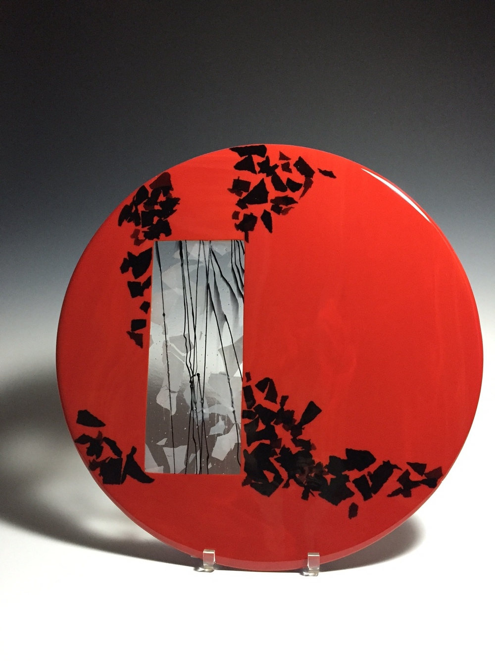 """Red & Black with Window<a href=>→</a><strong>18"""" Diameter Bowl $475</strong>"""