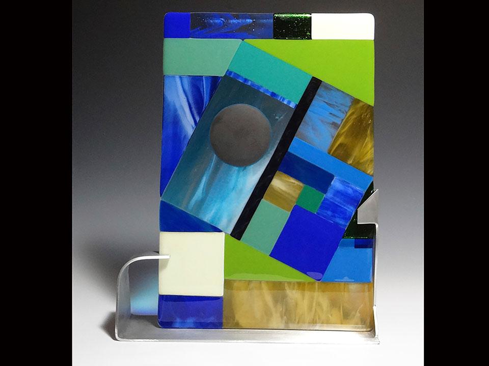 """Blue & Green Diagonal<a href=>→</a><strong>16"""" x 9"""" $275</strong>"""