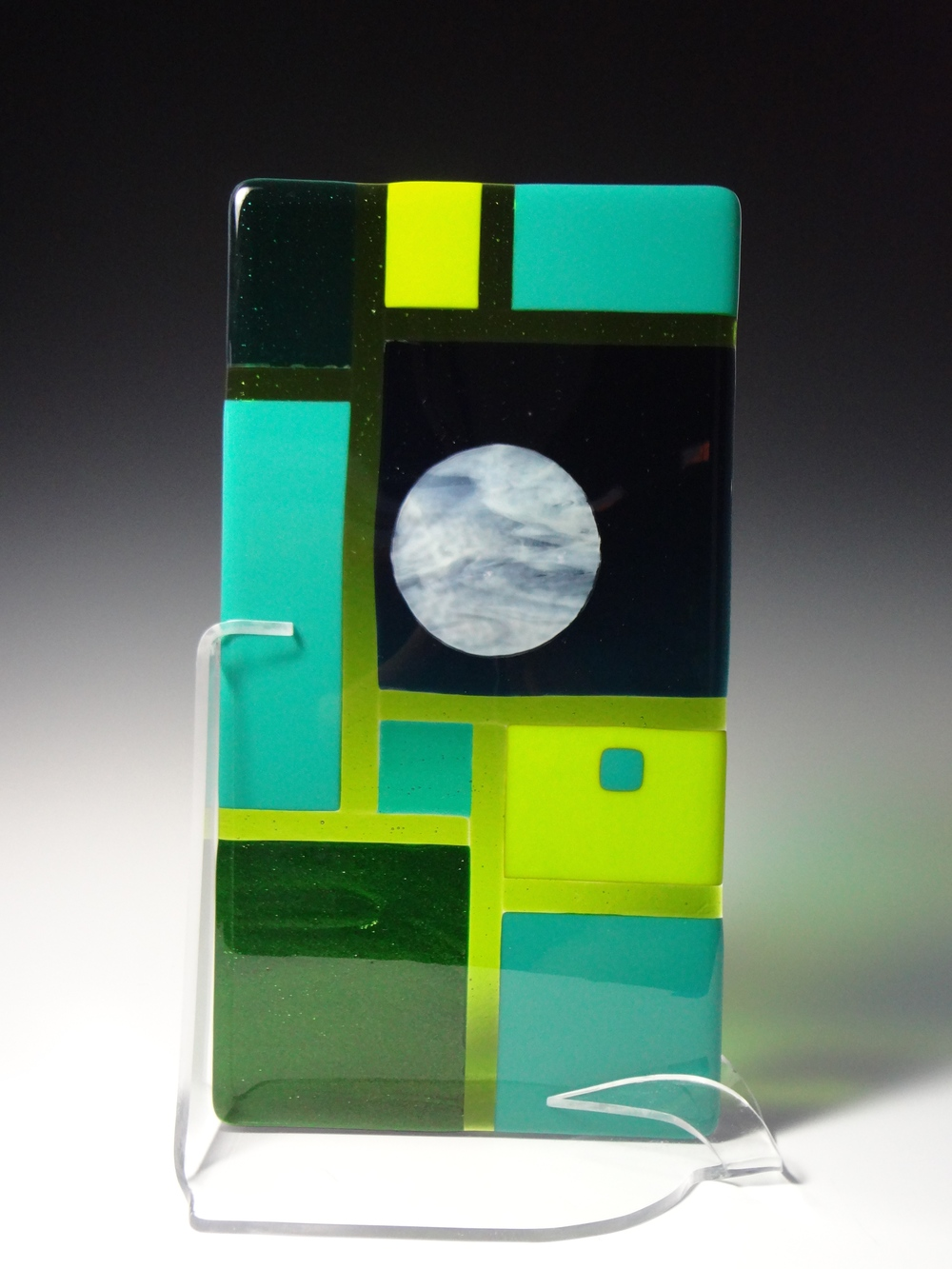 "Green Geometric<a href=>→</a><strong>15"" x 8"" $250</strong>"