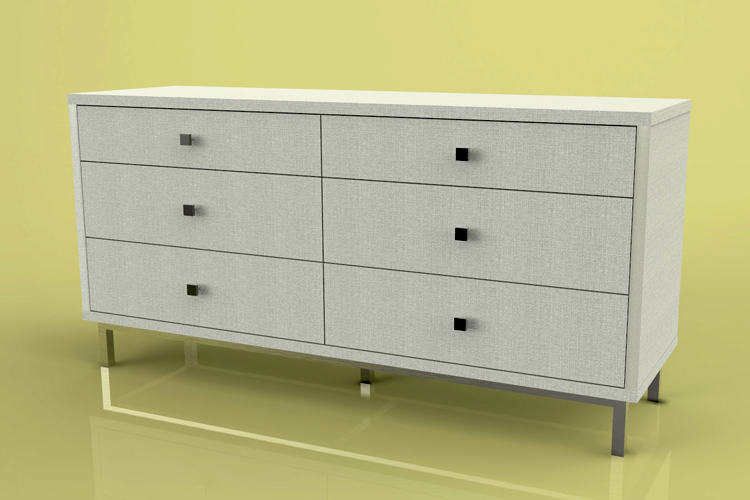Freestanding dresser with inset drawers.