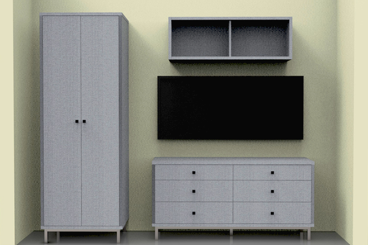 Freestanding furniture storage and cabinets for micro apartment living. Accompanied with side-tilt Murphy bed and area for TV for rest and entertainment.