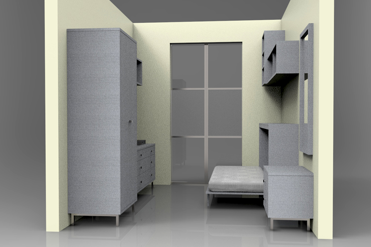 Freestanding furniture storage and cabinets for micro apartment living. Accompanied with   side-  tilt Murphy bed and area for TV for rest and entertainment.