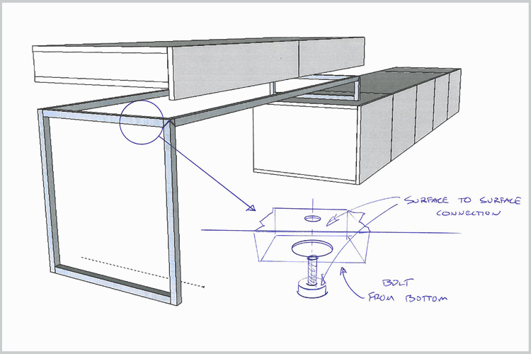 Side desk and base unit storage functioning as entertainment center.