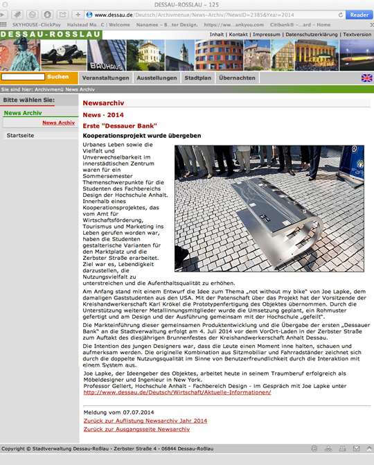 "Publication in German e-newspaper   Dessau-Rosslau     Click here to learn more:   Erste ""Dessauer Bank"""