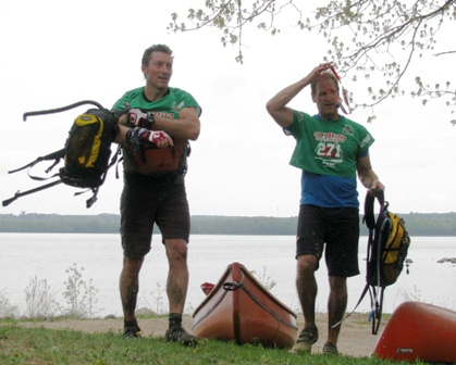 'Hike' course overall winners Team Hawk & Falconapproach the finish at Storm the Trent .