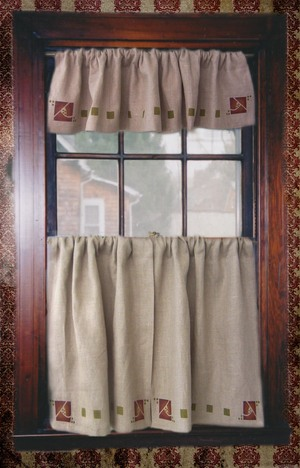 A valance can hide a shade or give a nice finishing touch. The curtain and valance combo include a creating a custom design border with our Simple Rose Border with squares.