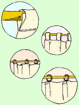 From top - 1) rod pocket, 2) tabs, 3) rings, 4) pleats.