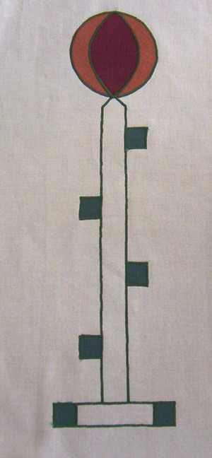 Berkeley:  an abstract vertical motif shown in forest, wine and rust. Motif is 20 inches long, $40 per motif.