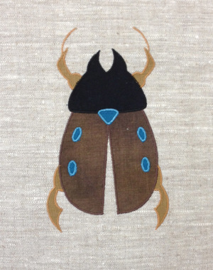 Scarab : Shown here in brown, teal, black and antique gold.$40.00 per motif.