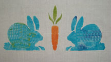Hungry Bunnies   from our childhood collection, here is imaginary stippled blue with a nice orange carrot. $40.00