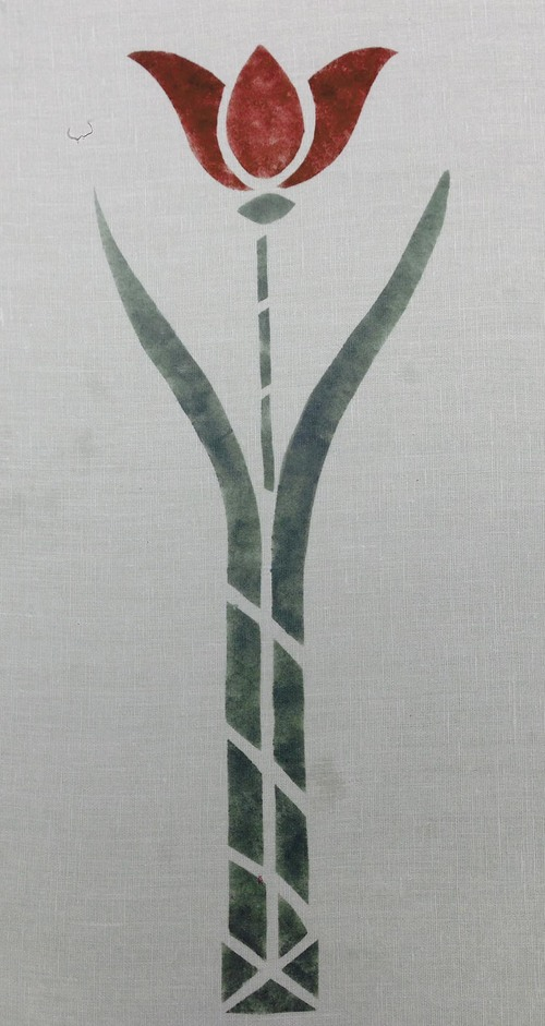 "Tulip Stencil:   Here in sage & dark red. Approximately 19"" high. $50.00 per motif"