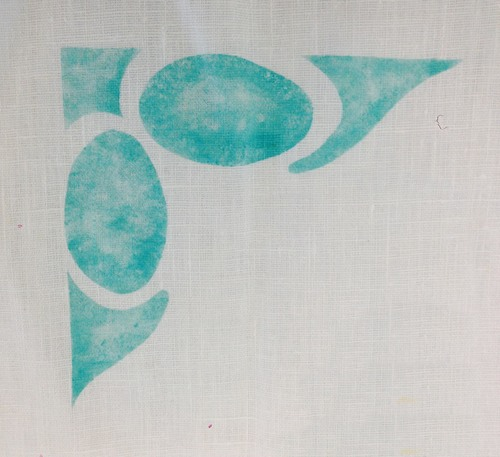 Venice Corner:  A ctually used originally with the Venice Rose on outdoor chairs, in custom aqua. $40.00 per motif