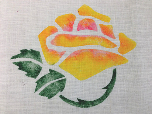 Venice Rose:   Stippled in gold & rose with forest leaves. $40.00 per motif