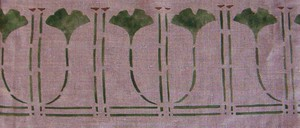 """The Ginkgo Border, Small :    7 1/4""""wide x 6""""high repeat.Available as a template. $40.00 per repeat"""