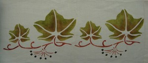 Ivy Border: R epeat of 7 inches high x 9 1/2 inches wide, shown here in loden, rust and black. We do this stencil as here, leaves down and can also do with leaves up! Let us know what you prefer. $45.00 per repeat