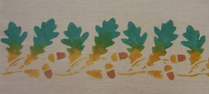 """Oak Leaf Border    (A):  Shown here in sage and antique gold stippled together One repeat is 5"""" high x 5"""" wide. $45.00 per repeat"""