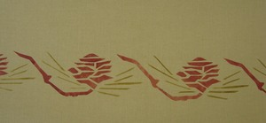 Pine Cone Two: Our second version of this popular motif, shown here in rust and laden. $40.00 per repeat.