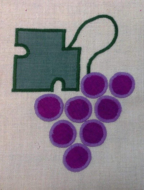 Bungalow Grape  : Shown here in purple and forest, six inches high, $40.00 per motif