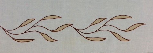 """Willow Border small  : 13"""" wide x 4 1/2"""" high. Shown here in antique gold with brown stitching.  $36.00 per repeat of one branch."""