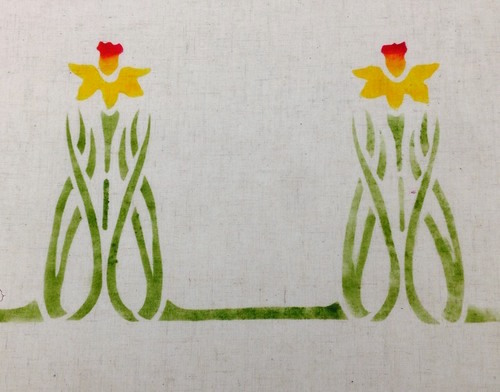Daffodil Border   :  A large border or single motif, here in gold, red and a custom bright green. $45.00 per motif