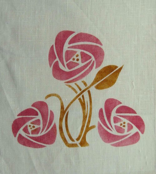 "Rose Medalli  on   :  7 3/4"" high x 6 inches wide shown at in rose and whiskey. A template is also available. $40.00 per motif"