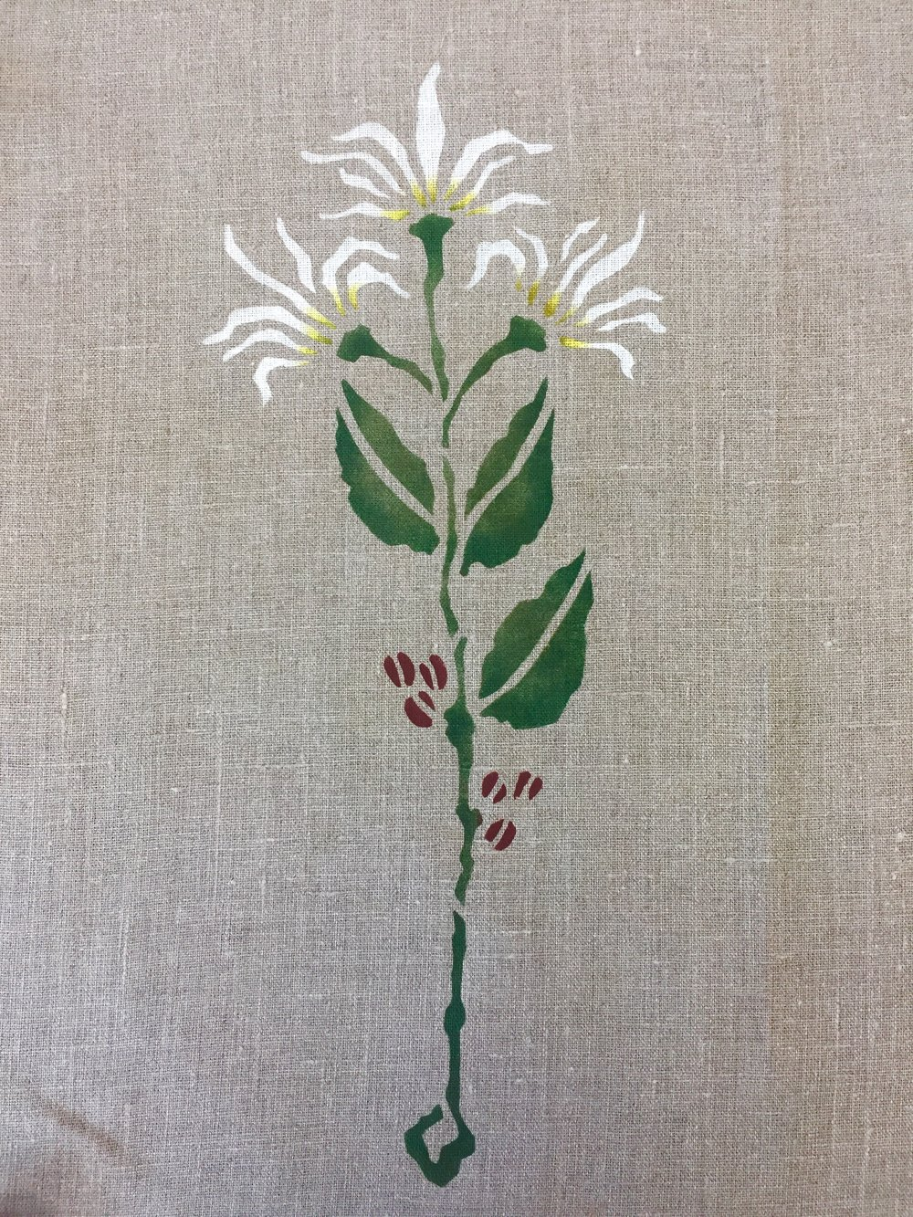 "Coffee Flower Stencil: Shown in cream, forest and dark read an gold. About 15"" high. $45.00 motif"