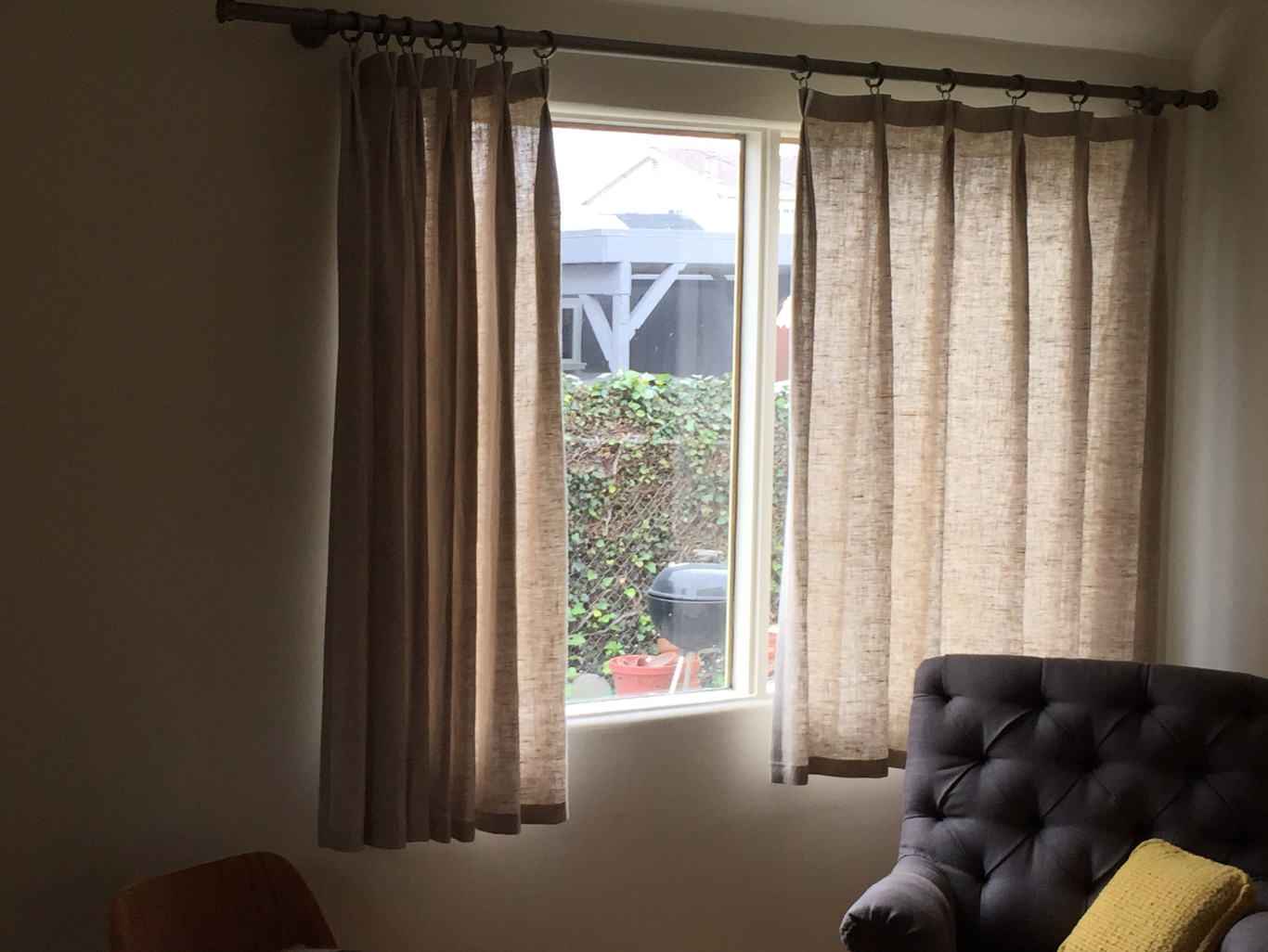 These curtains are made of Peasant Linen - Oatmeal with double pleated top hem.