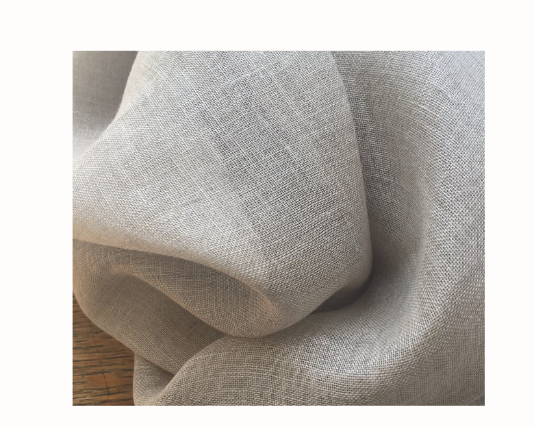 "Linen Scrim, Natural:  loosely woven and slightly coarse, like sturdy net. Lovely for stencilling & pin stitch but we do not applique on this fabric. 54"" wide, natural. Should not be lined. $23.00 per yard."