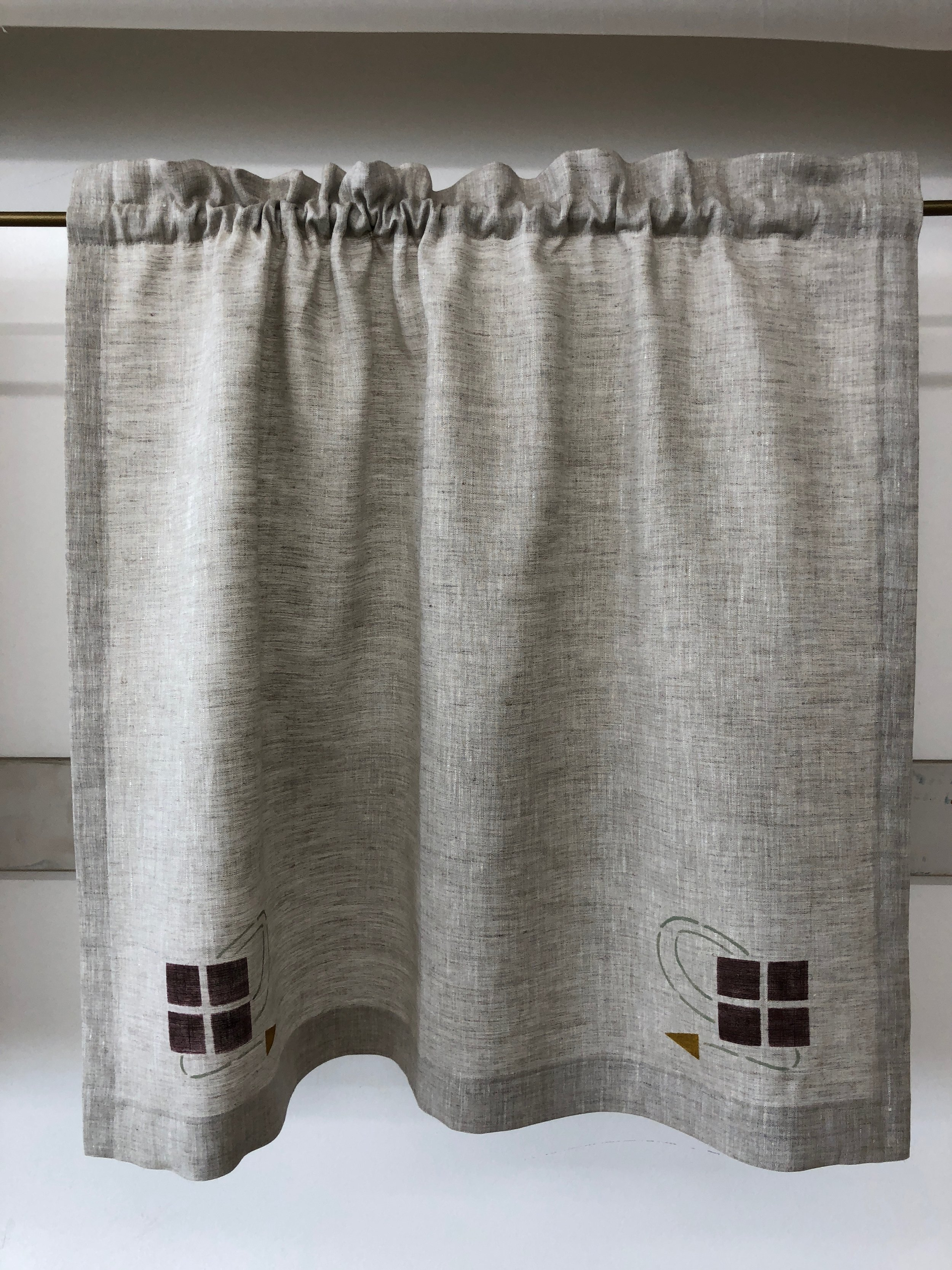 Shown here is a curtain with top rod pocket and Checkerberry stencil in mahogany, forest and antique gold. Fabric is Handkerchief Linen - Natural.