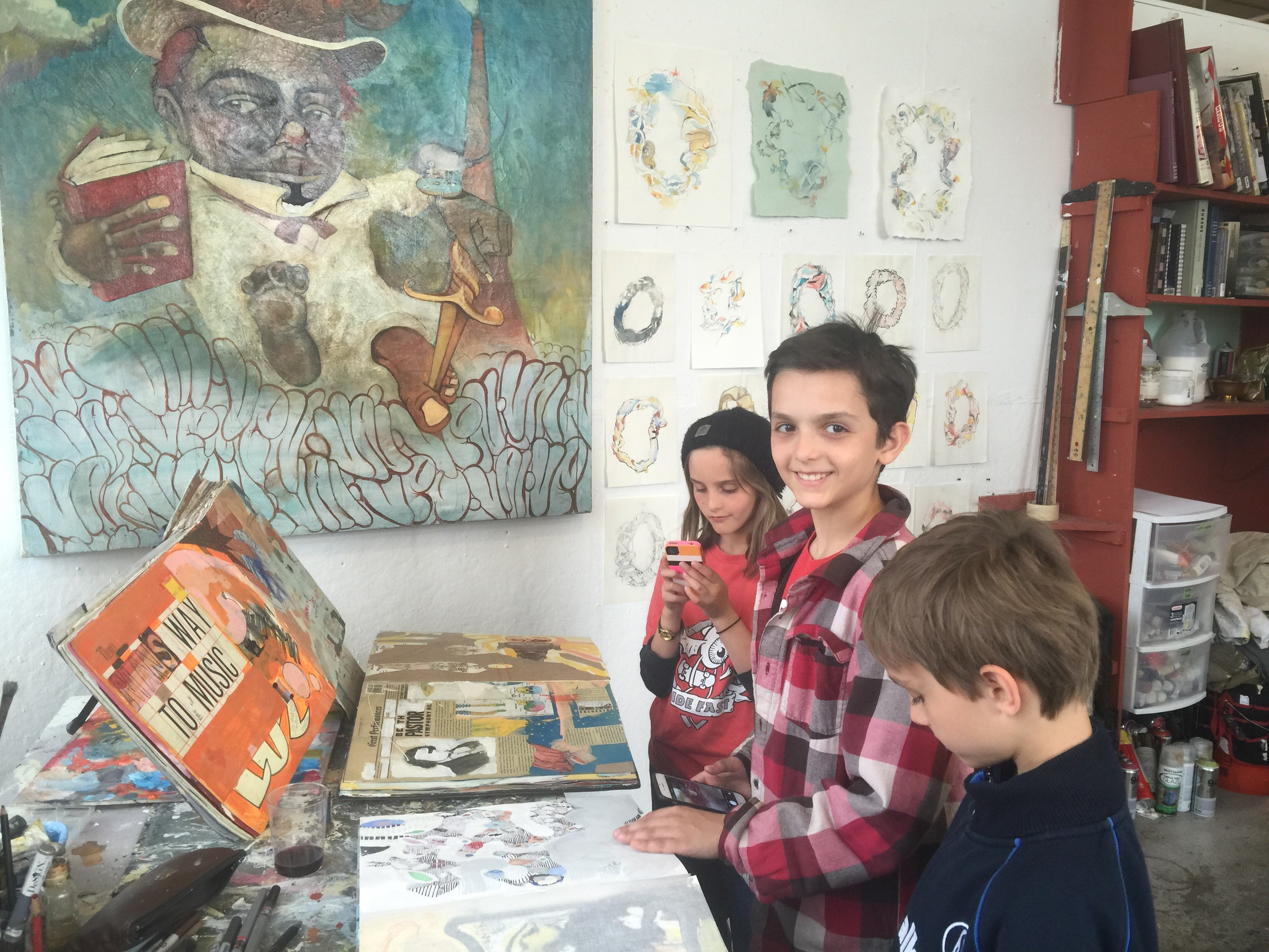 Lina, Lorenzo and Lucas enjoy my painting books during open studios. Brilliant minds, smiling faces and artists-to-be!