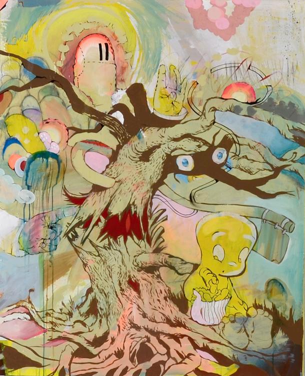 """Cadmium Casper"" 2015  Acrylic, Ink & Graphite on Canvas  40""X30"""