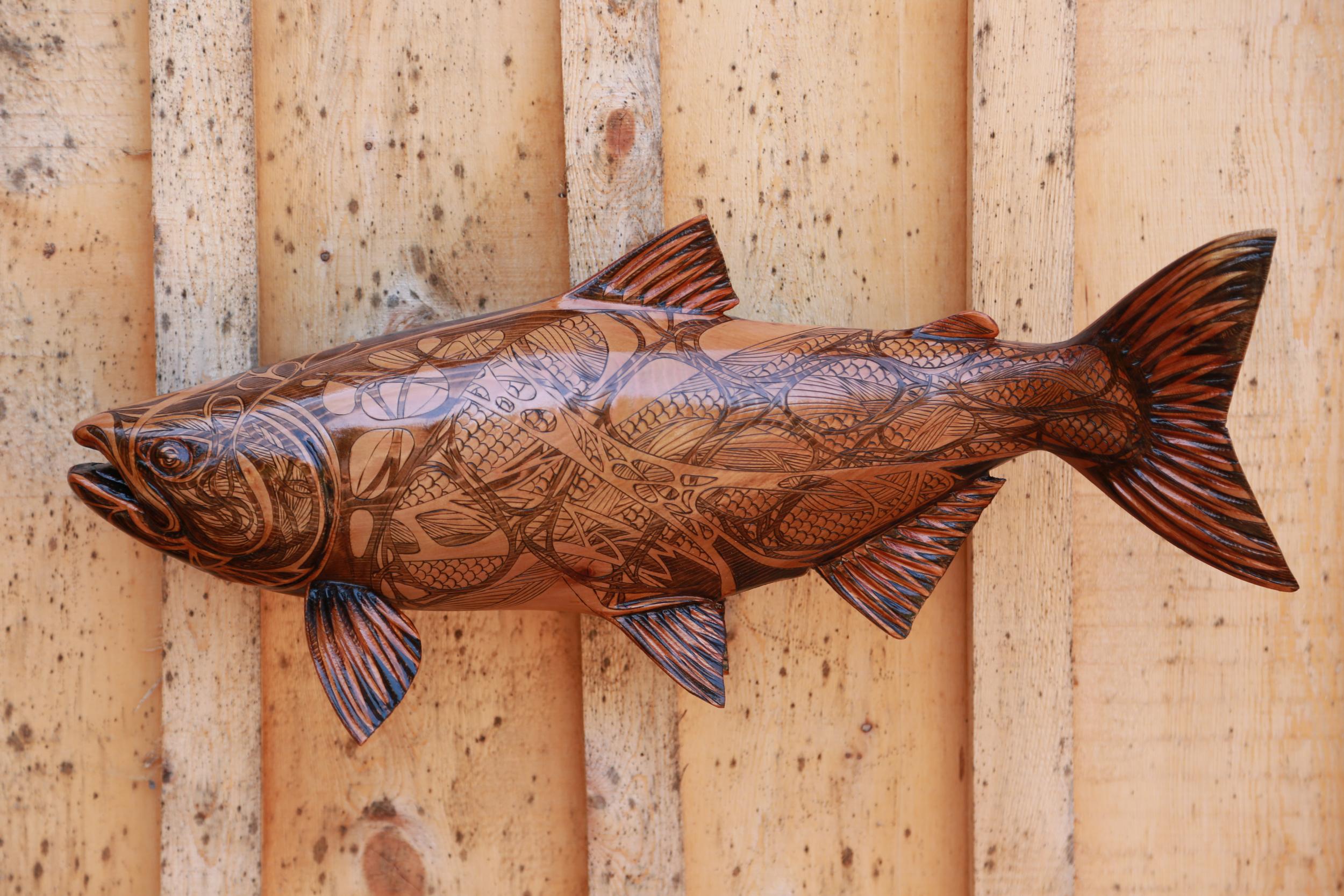"Williams Creek Sockeye #2: Pyrographic Fish Series (Western Red Cedar @24""/ 610mm)"
