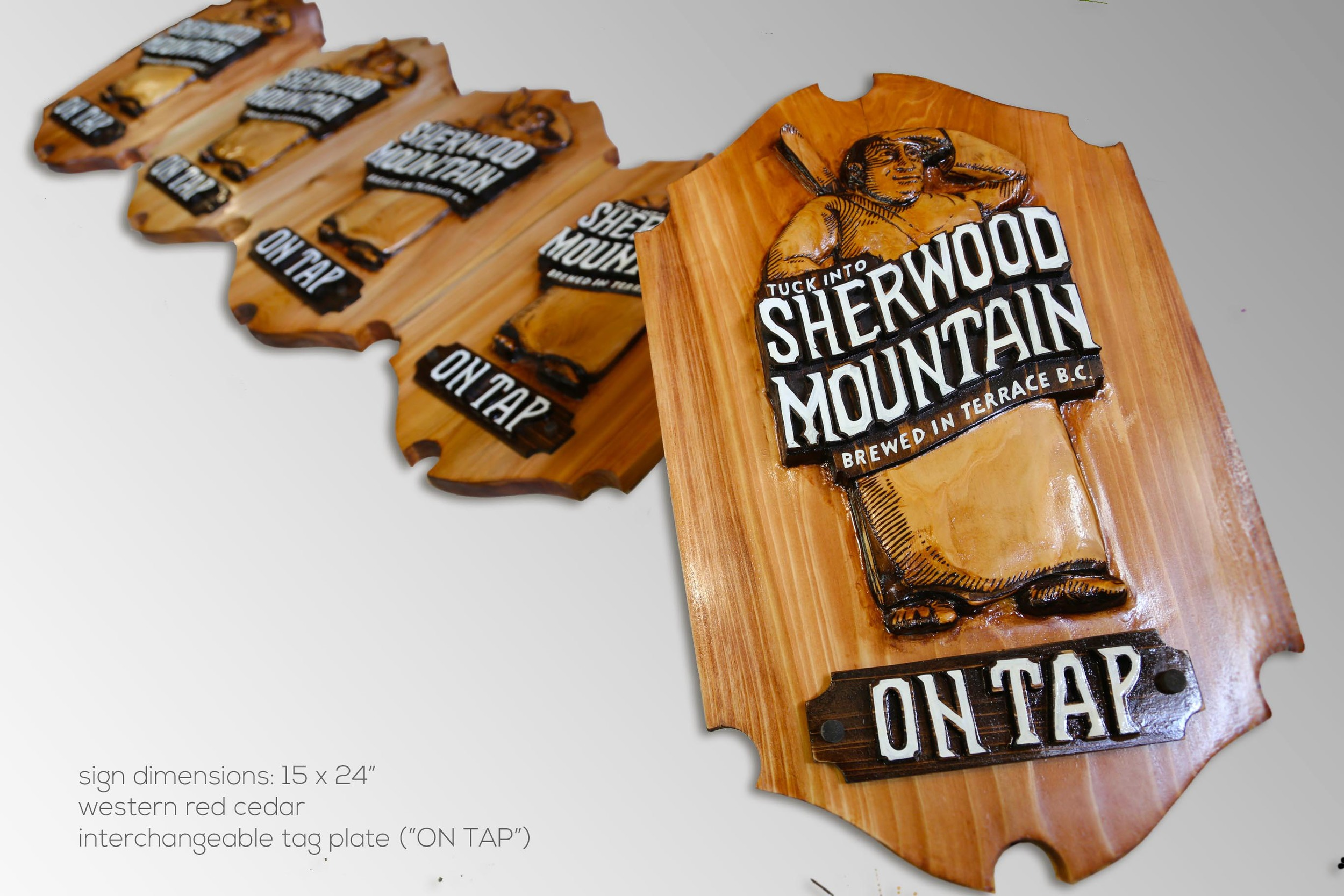 "Sherwood Mountain Brewery: Bar Plaque with interchangeable Tag Plate (""ON TAP"") (15x24""/ 380x610mm)"