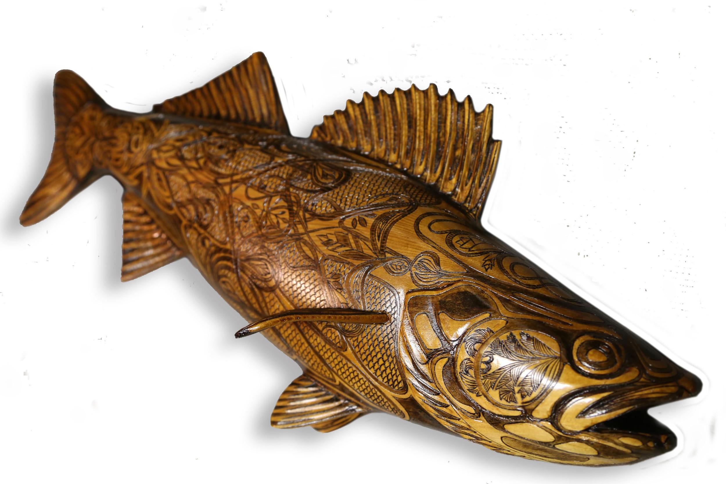 "Belmont Walleye #1: Pyrographic Fish Series (Western Red Cedar @24""/ 610mm)"