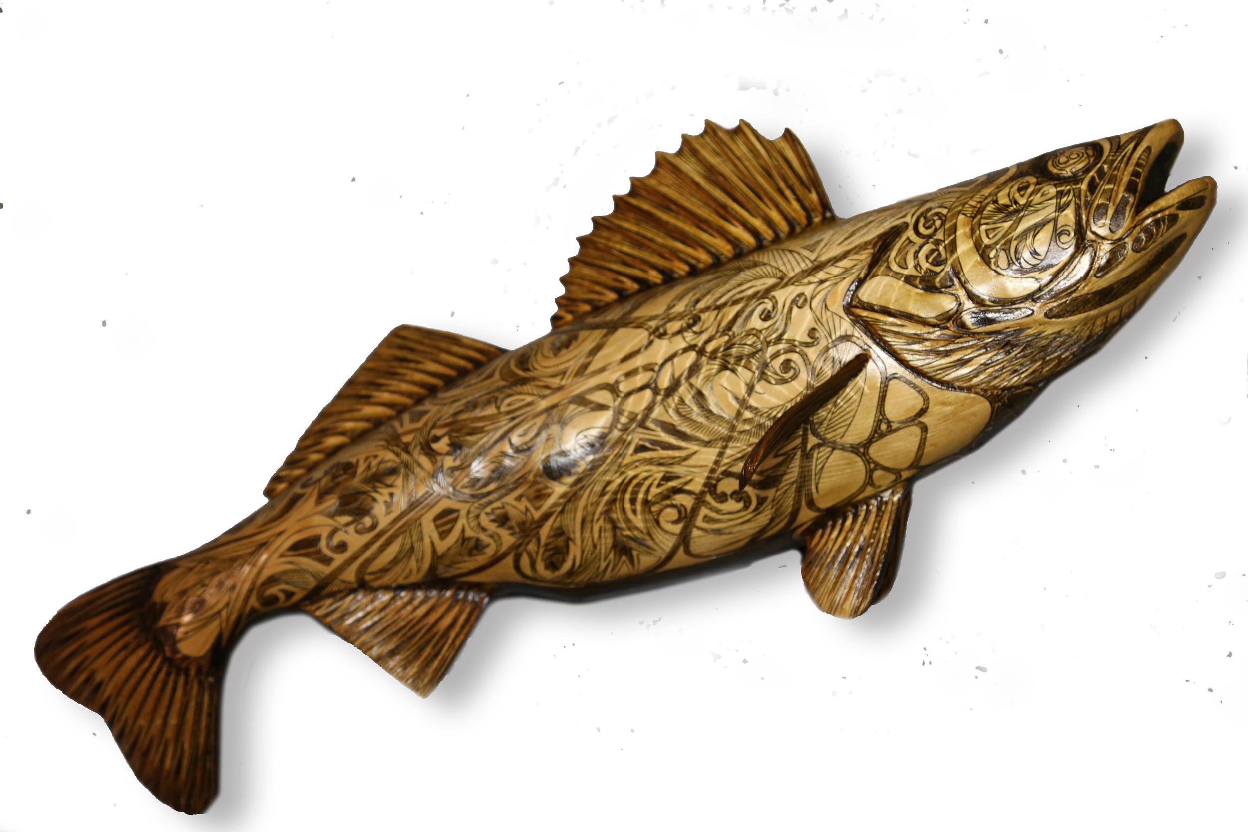 "Belmont Walleye #2: Pyrographic Fish Series (Western Red Cedar @24""/ 610mm)"