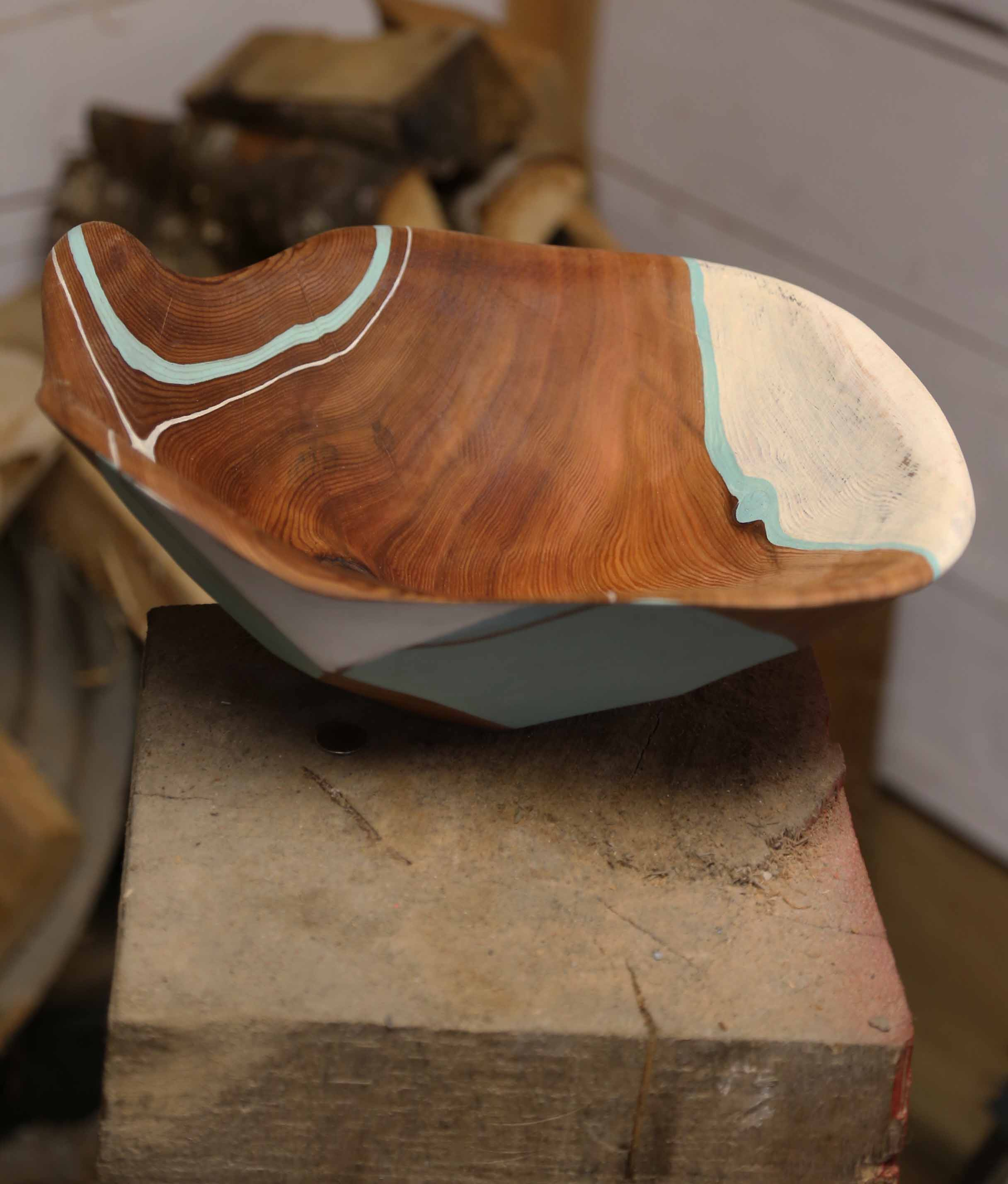 "Geograin 5 - 12x11x7"" - western red cedar, milk paint, walnut oil, beeswax - roderick brown - 2017"